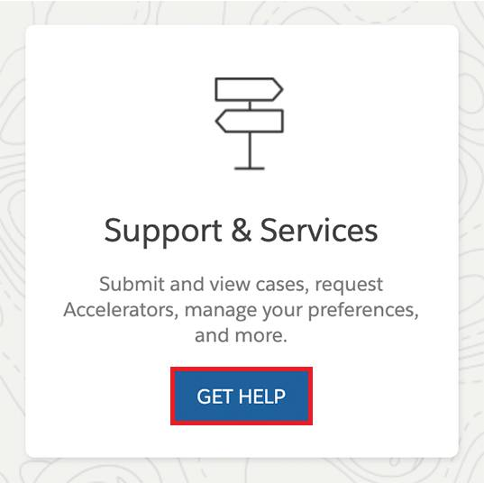 The button on the support page that links customers to Salesforce help.