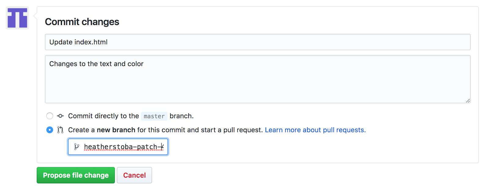 Create a branch and commit