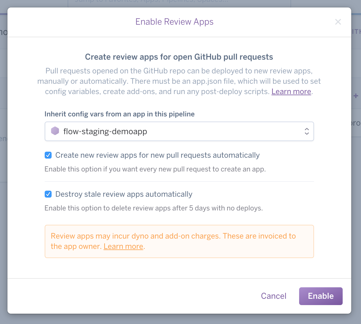 Enable review apps