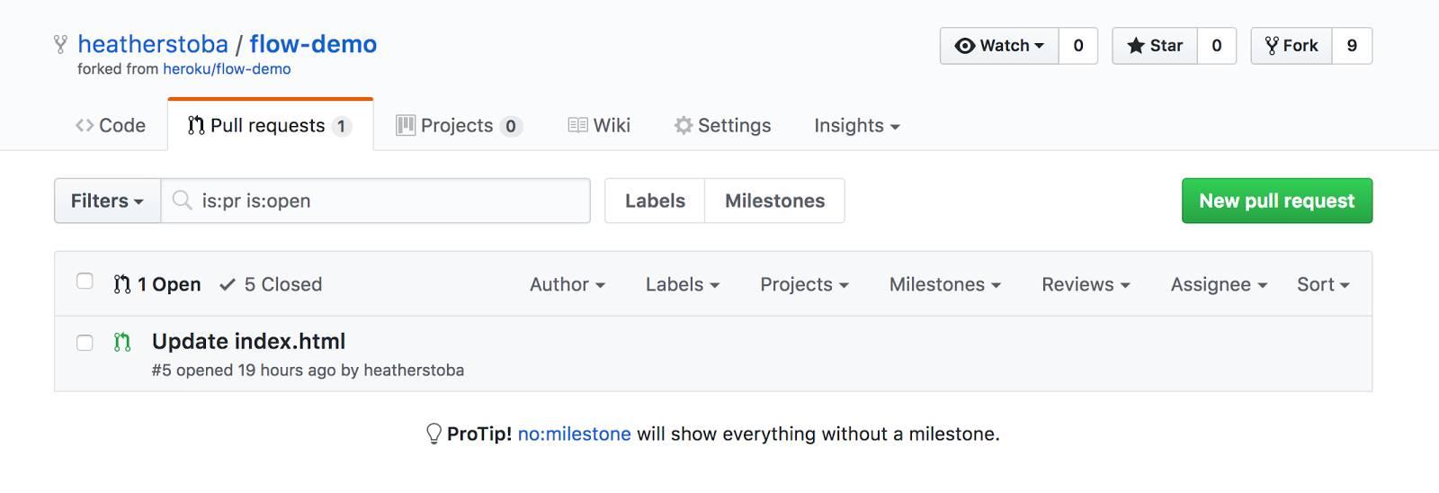 Überprüfen der Pull Request auf GitHub