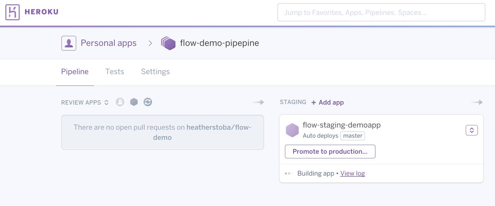Staging app is built