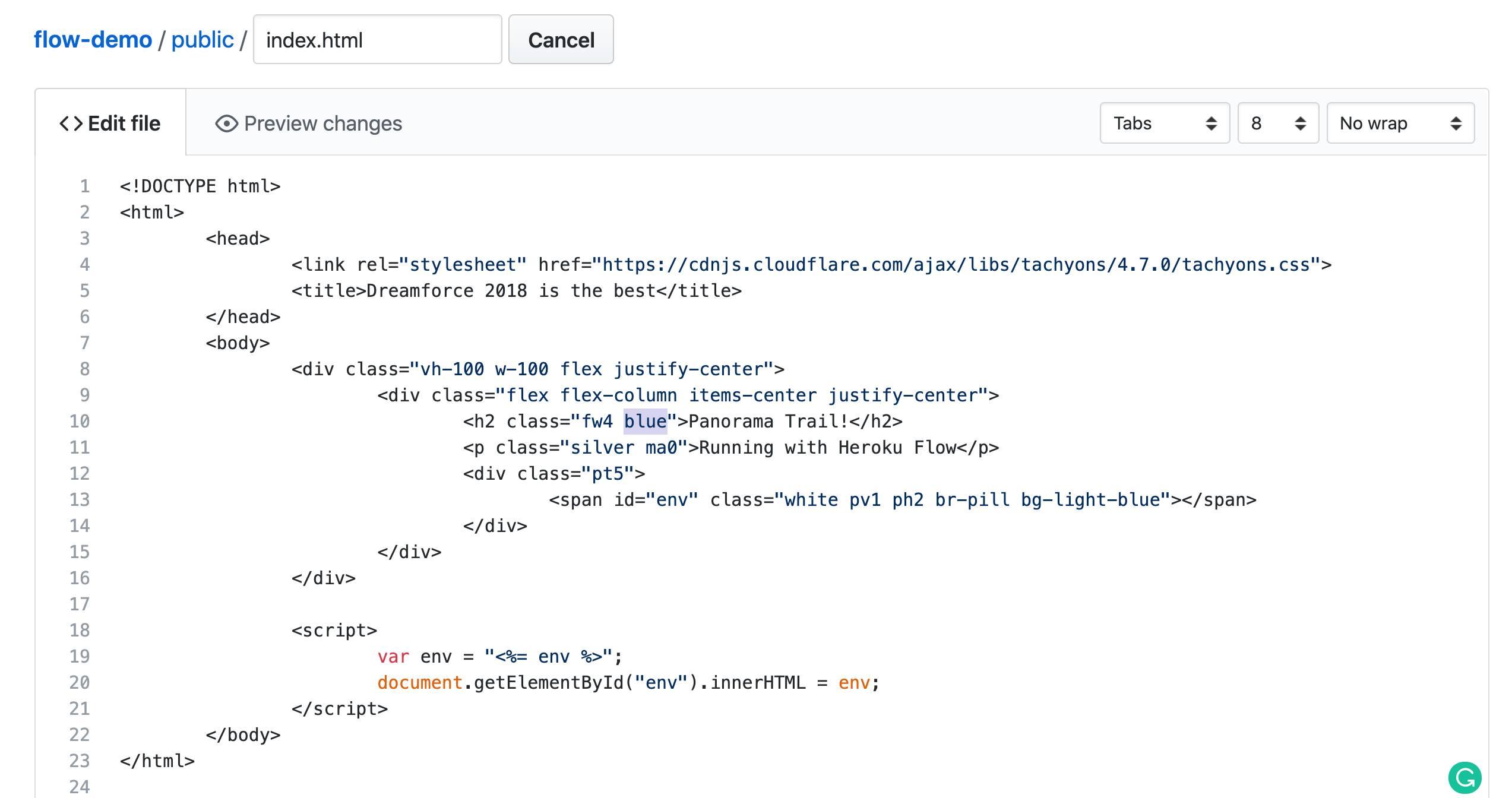 Change the code in GitHub