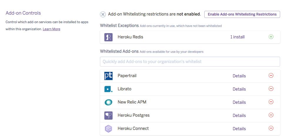 Add-on Whitelisting Controls
