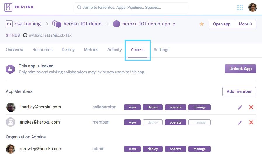 Heroku App Access Tab