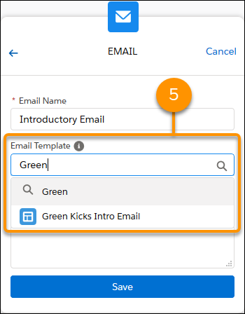 Choosing an email template for the email step.