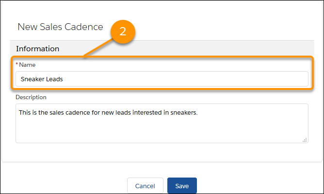 The New Sales Cadence form.