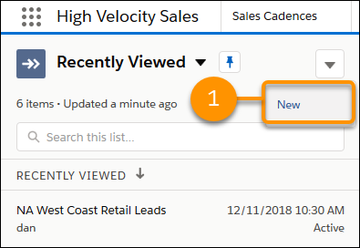 Choosing the New action in the Sales Cadences tab.