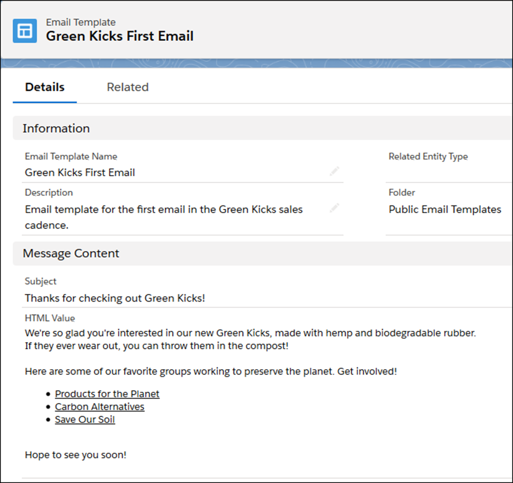 The Green Kicks email template.