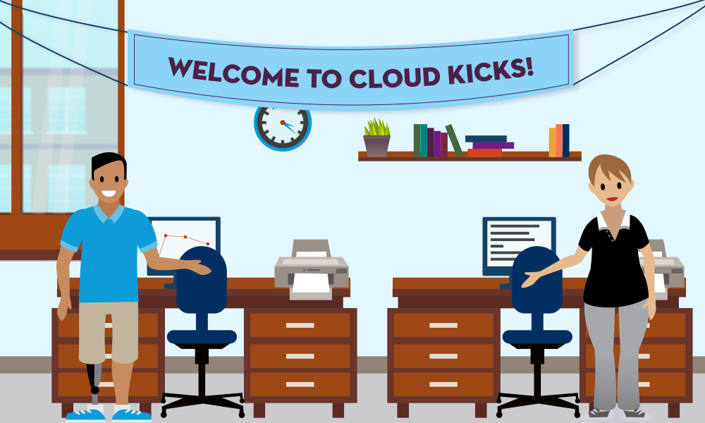 Jose and Candace in the Cloud Kicks office welcoming you to the company