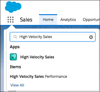 Screenshot of the App Launcher with the High Velocity Sales app selected