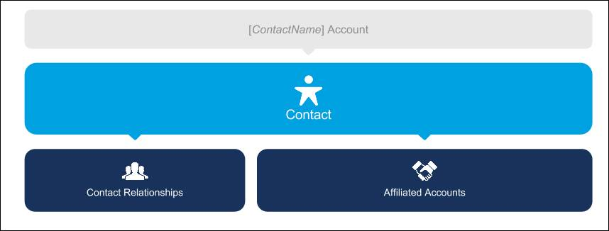 An administrative account represents a contact, and that contact's relationships and affiliations are then associated with the contact.