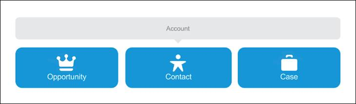 The Standard Salesforce account module lets you associate objects like Opportunity, Contact, and Case to each account.