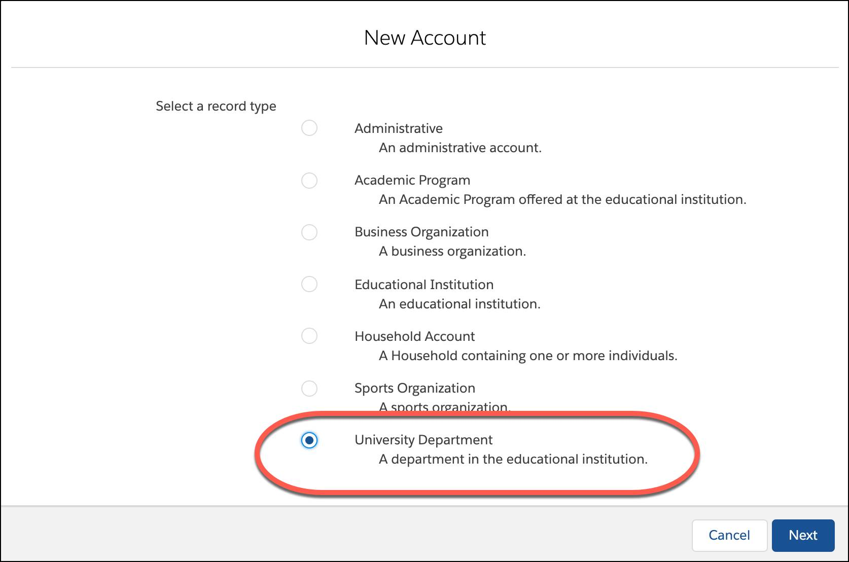 Select University Department as the record type and then click New.