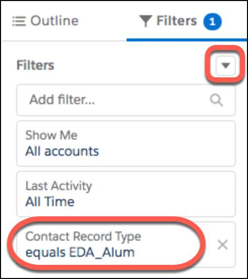 Add a filter for Contact Record Type equals EDA_Alum.