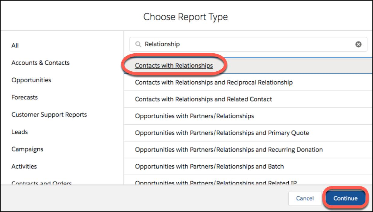 Select Contacts with Reports as the report type and click Continue.