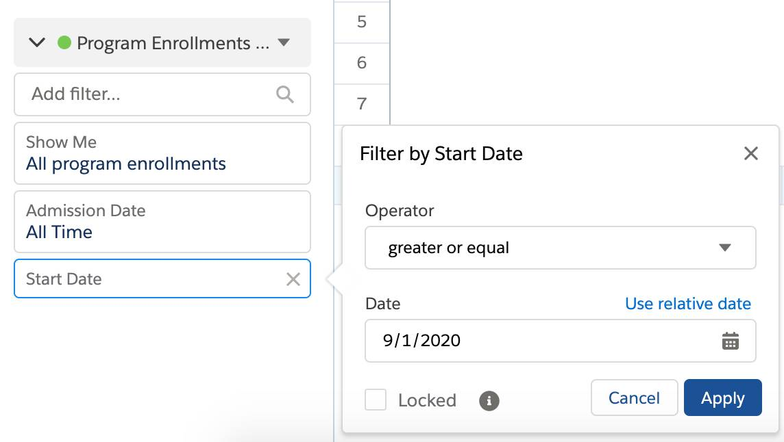 Add a Filter by Start Date where the start date is greater or equal to 9/1/2020.