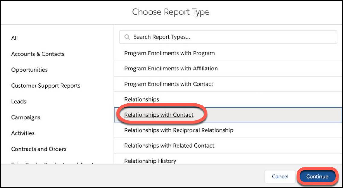 Select the Relationships with Contact report type and click Continue.