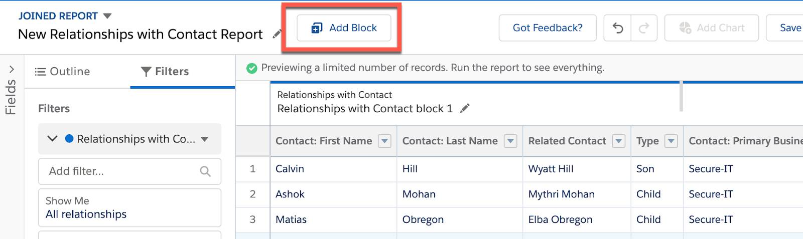 Click Add Block in the joined report preview.