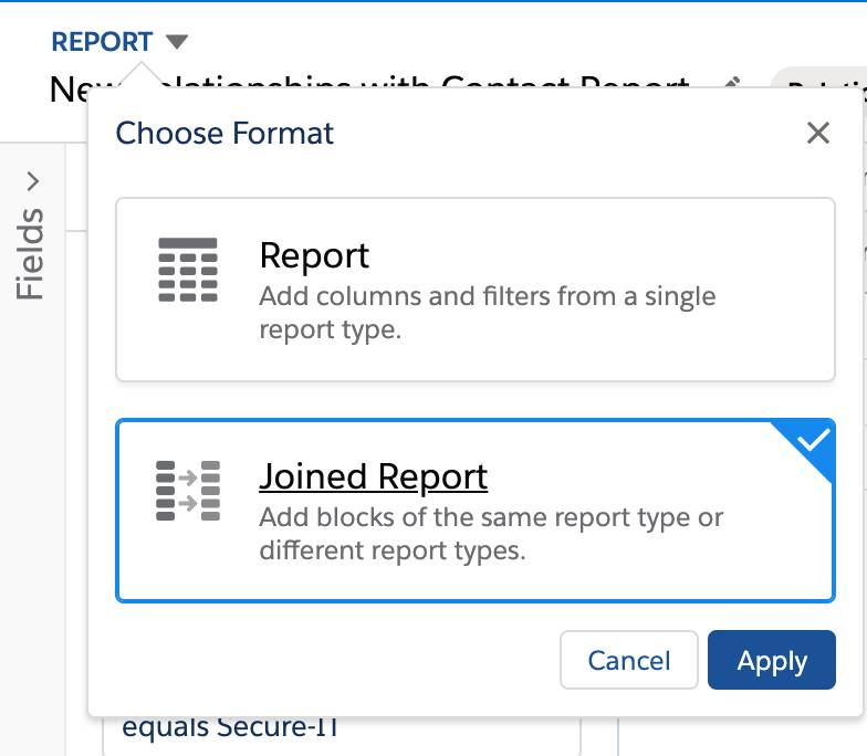 Select Joined Report from the Choose Format menu.