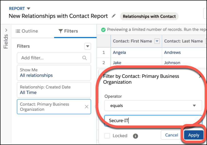 Filter by Contact: Primary Business Organization where the organization equals Secure-IT. Click Apply to save the filter.
