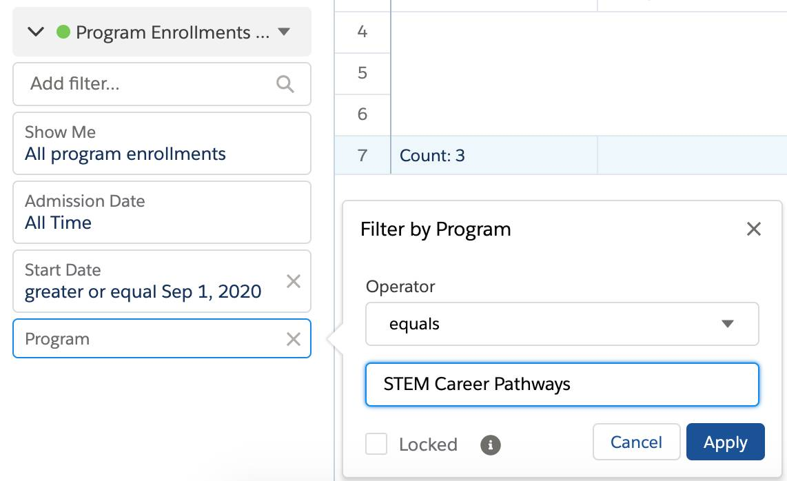 Add a Filter by Program where Operator equals STEM Career Pathways.