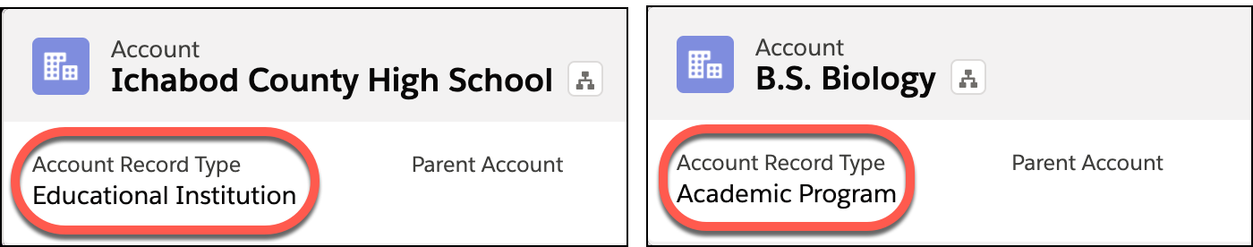 Account Record Types highlighted on affiliated accounts.