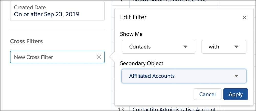 Cross filter set to Contacts with Affiliated Accounts