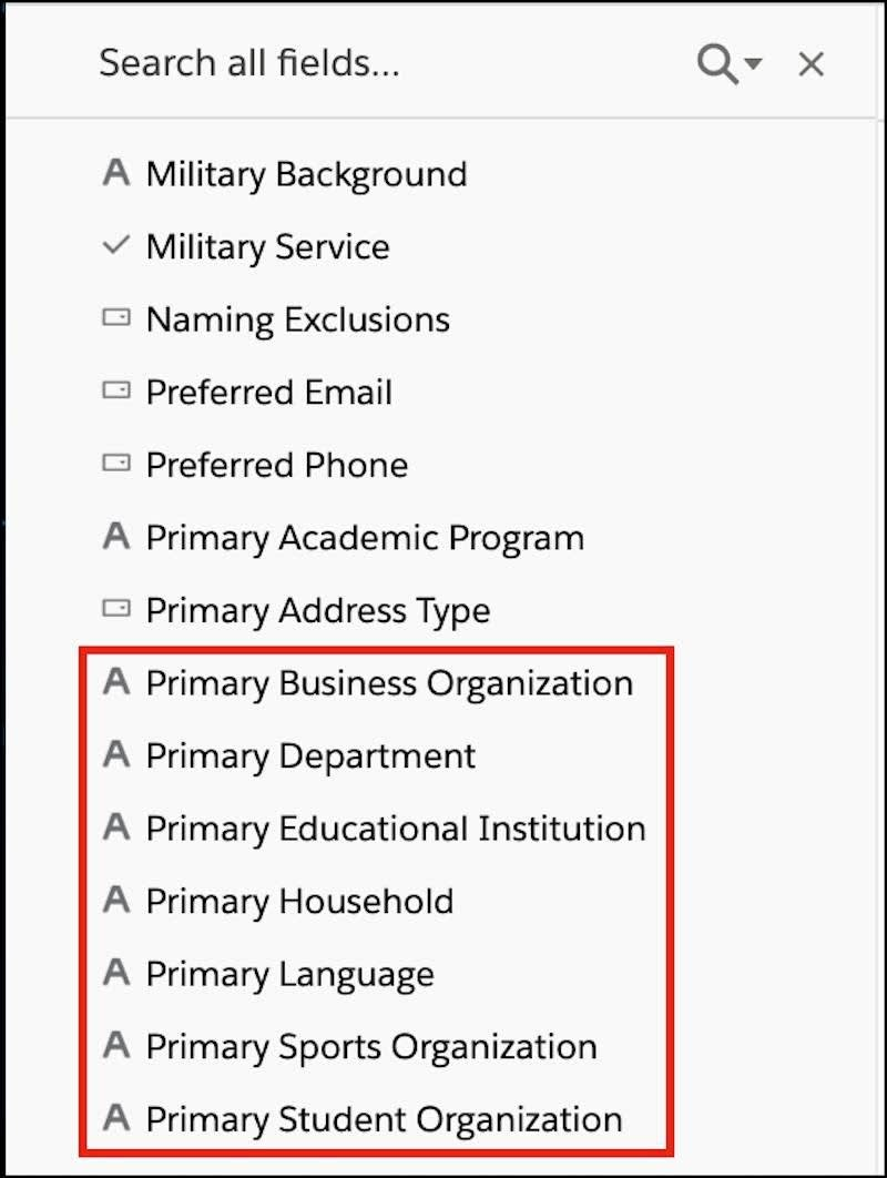 The Contact: Custom Info folder with primary affiliations fields highlighted.