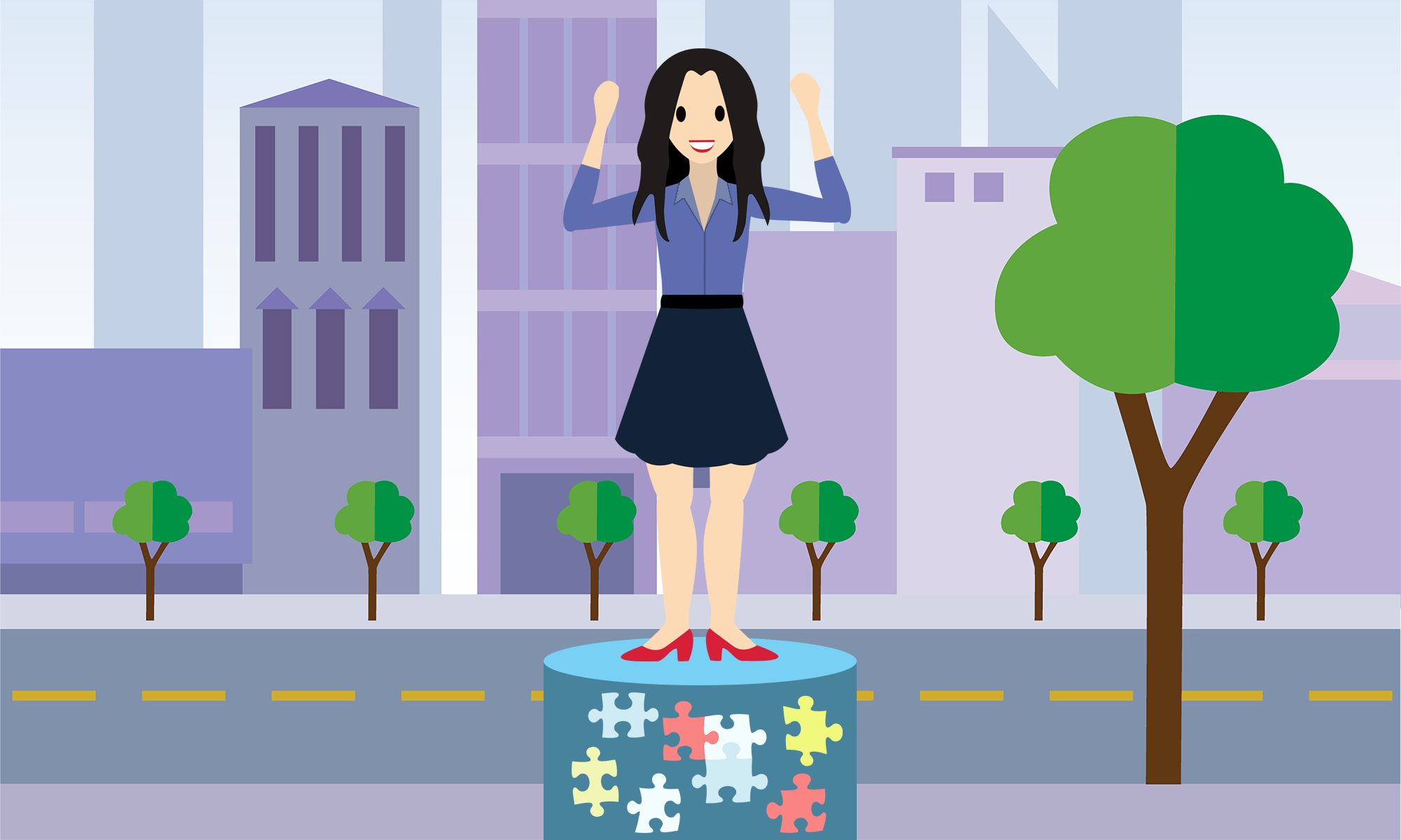 Image woman standing on pedestal with puzzle pieces.