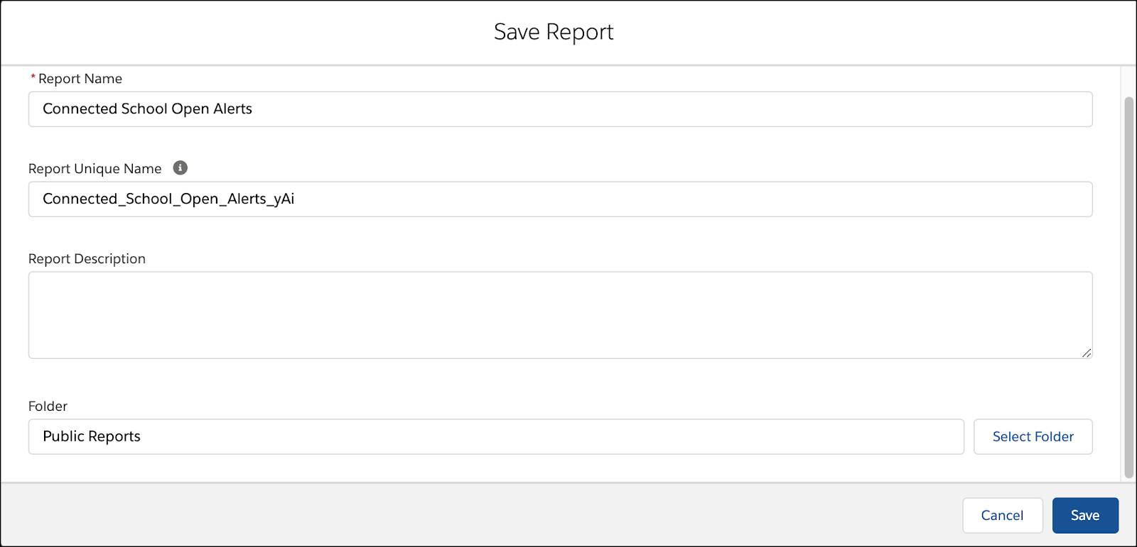 Save Report form