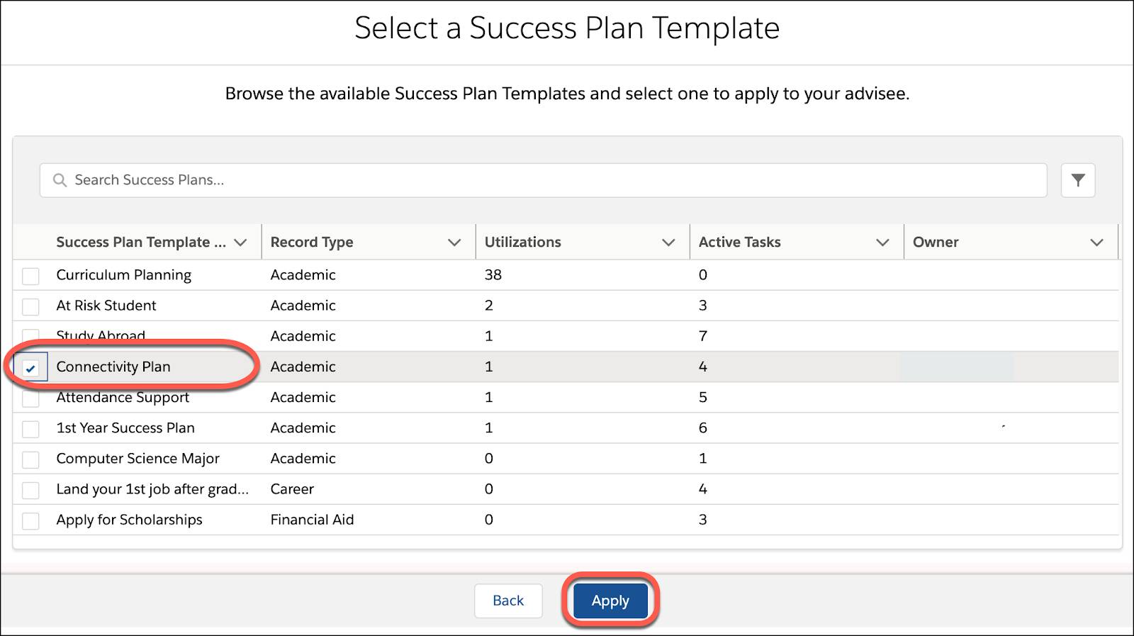 Connectivity Plan selected on the Select a Success Plan Template record with Apply button
