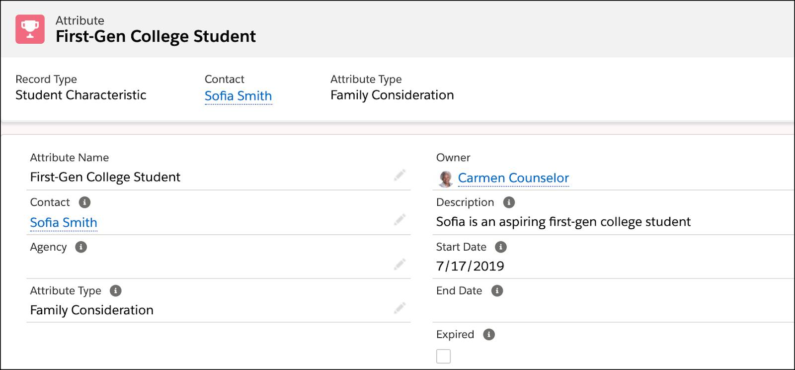 Attribute record for First-Gen College Student
