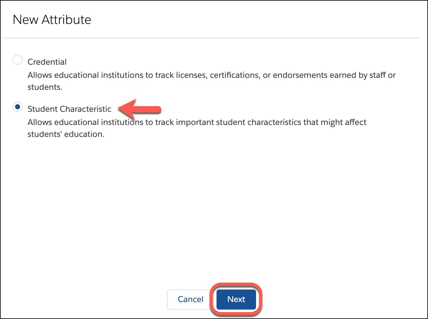 Student Characteristic selected as New Attribute type and Next button