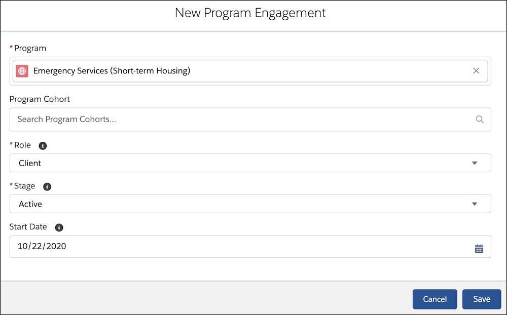 The New Program Engagement popup