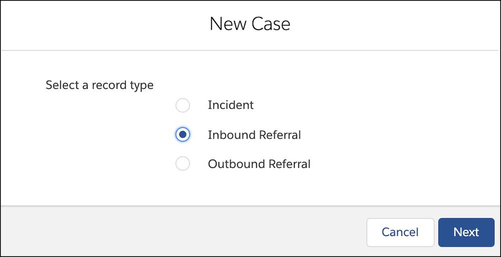 The case type selection popup