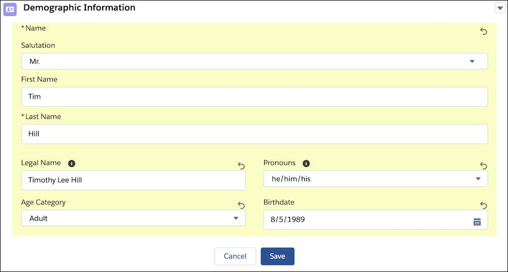 Editing contact details from the intake record