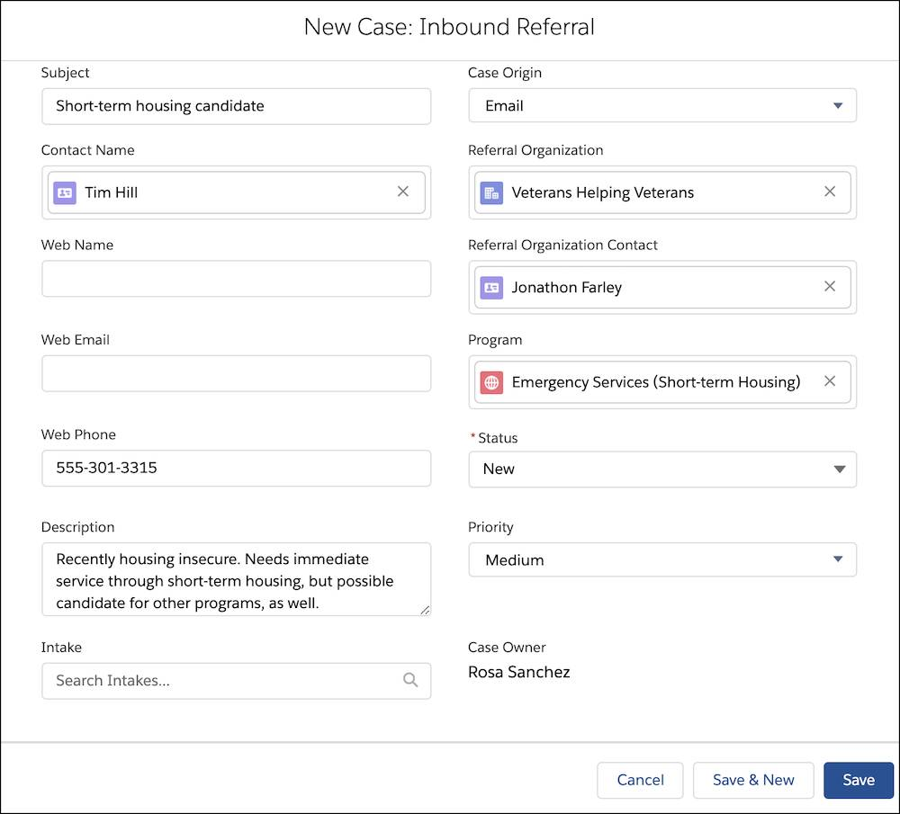 The New Case: Inbound Referral popup with Tim's details