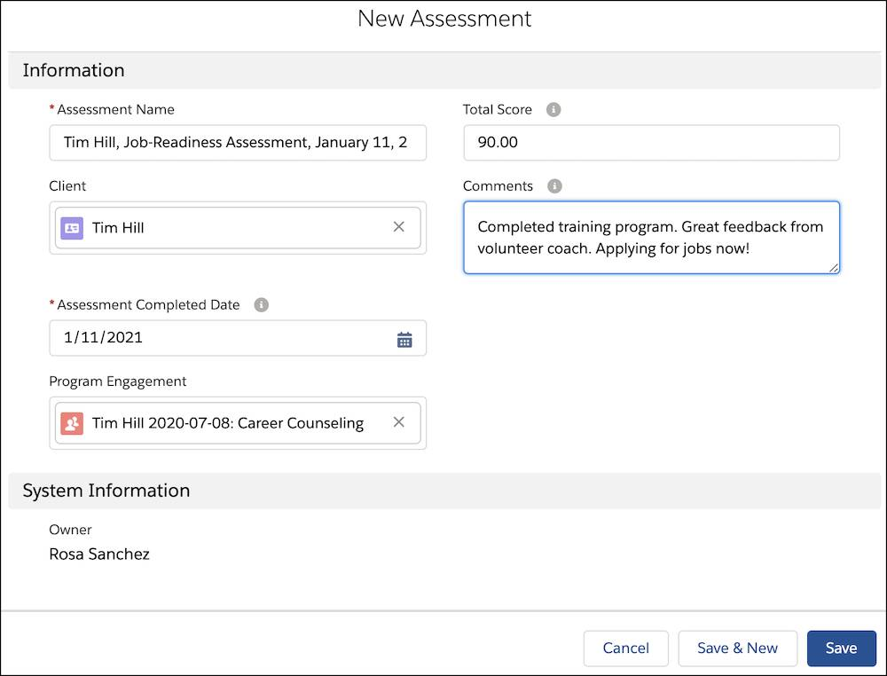 Rosa's details in the New Assessment interface