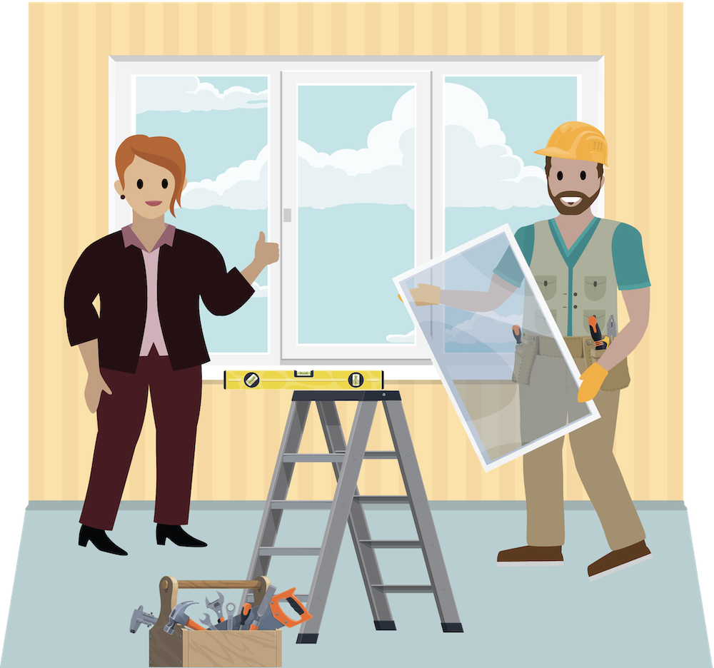 Tim installs a window in a home as a coach gives him a thumbs-up.
