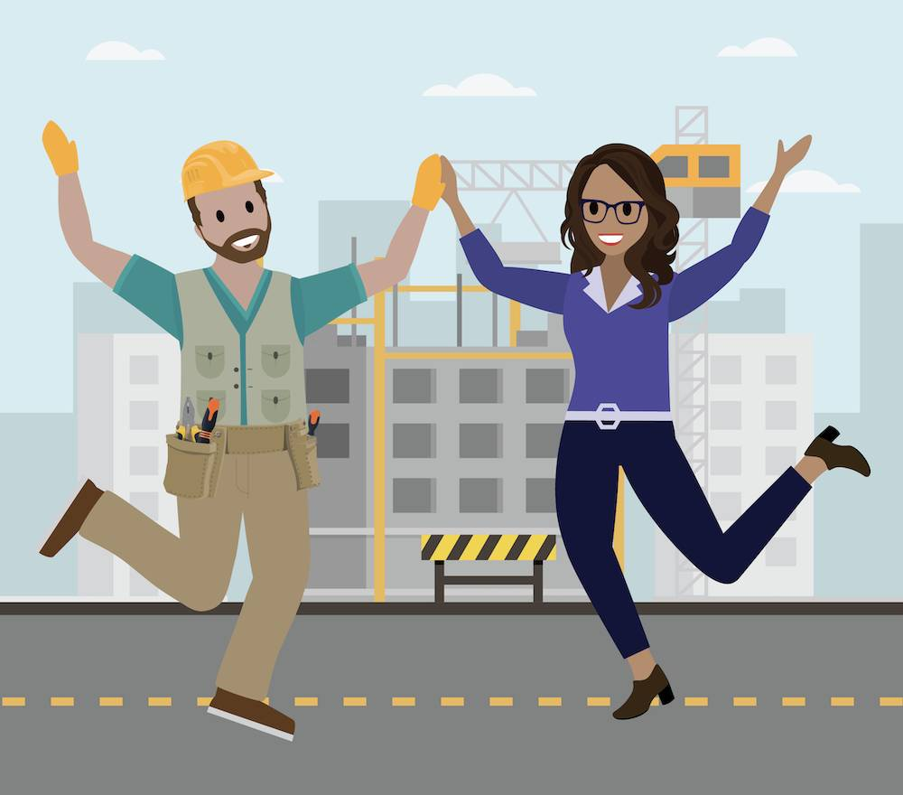 Rosa and Tim give each other a jumping high five.