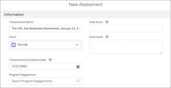 The beginning of a new assessment with Rosa's Assessment Name and Completed Date filled in