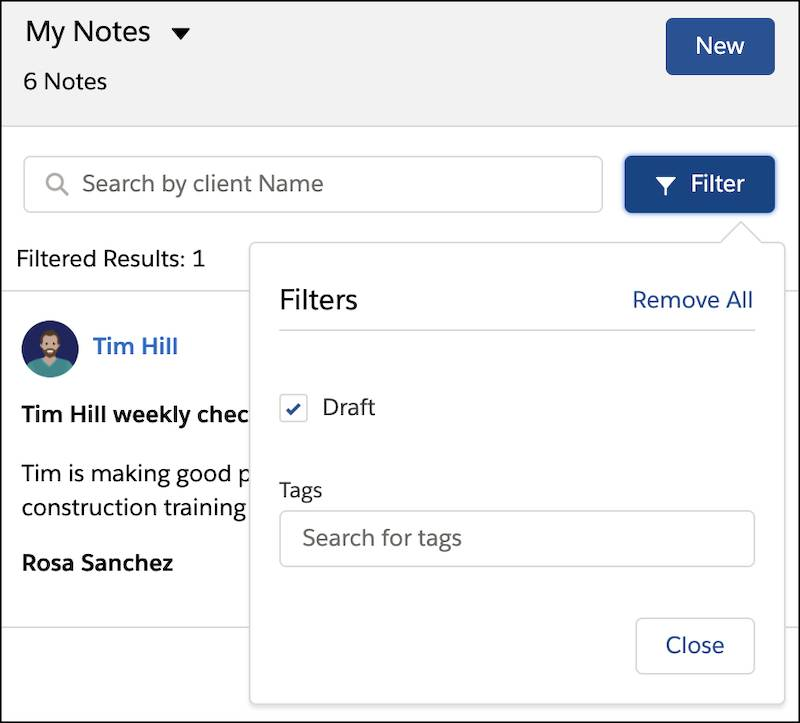 Searching for notes by selecting Draft in the notes filter