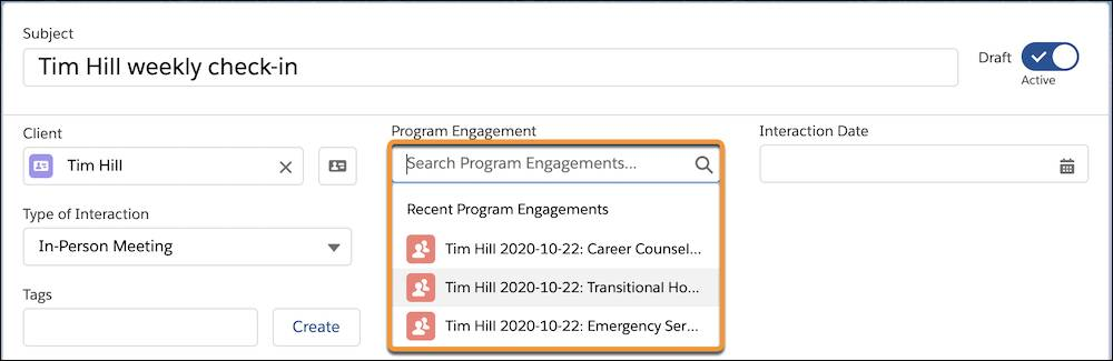 Searching for the Transitional Housing program engagement in the Program Engagement field