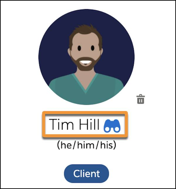 A watchlist icon next to Tim's name on his client card