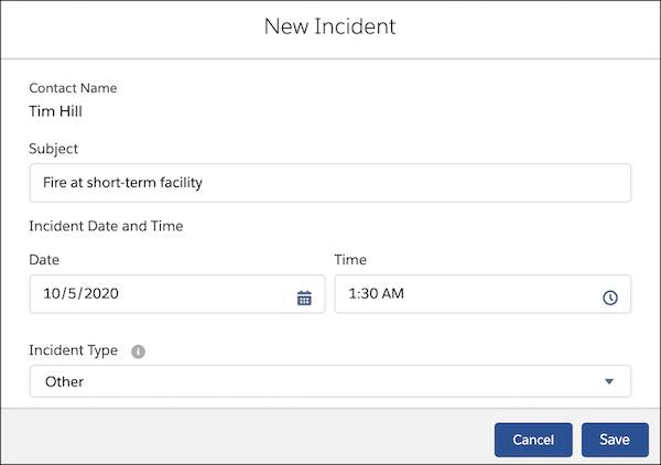 New Incident interface with Rosa's details in the fields