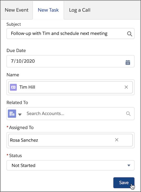 A new task in the Activity Panel