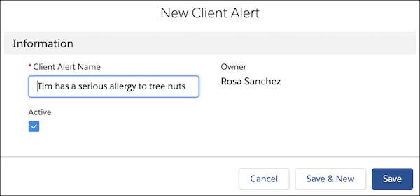 The new client alert with Tim's information filled in