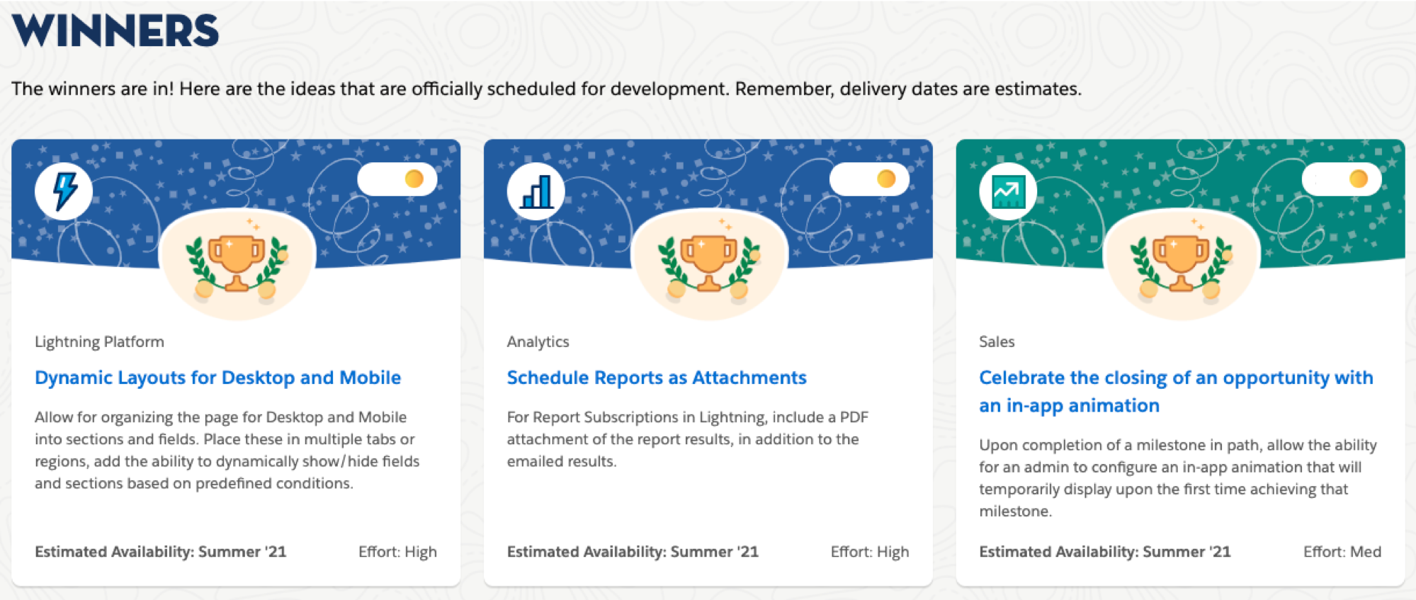 The Winners section of the IdeaExchange Prioritization page shows information cards for the winning ideas from the latest prioritization cycle