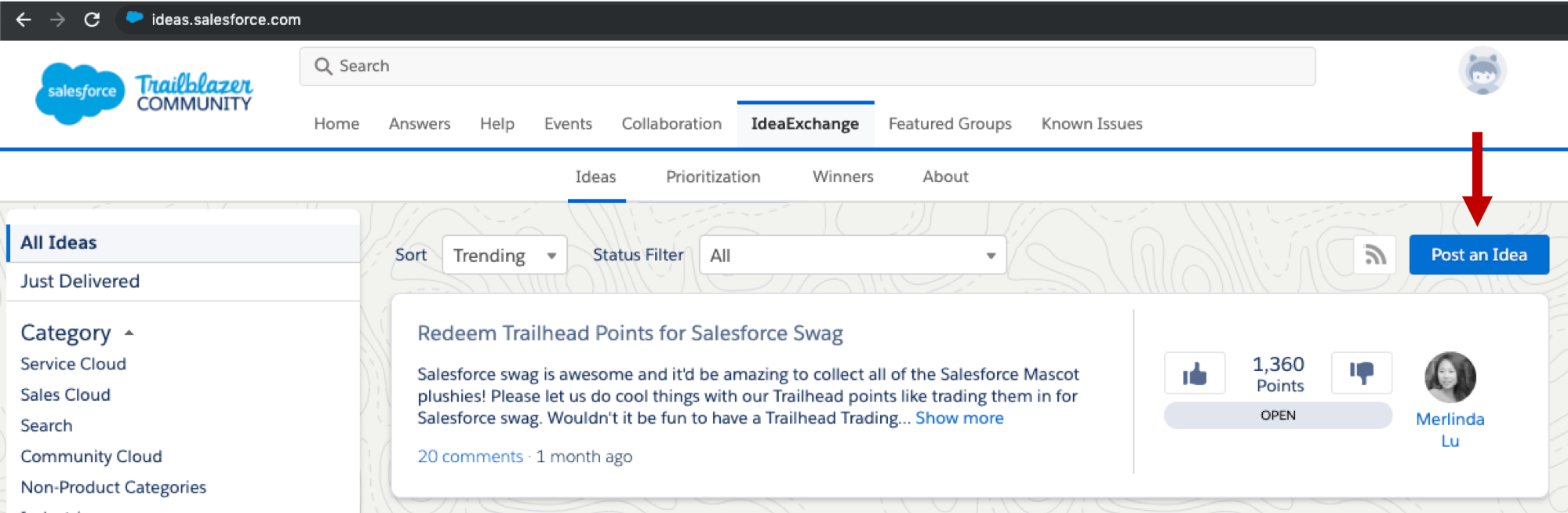 The IdeaExchange homepage at ideas.salesforce.com shows trending ideas, category filters, and the Post an Idea button