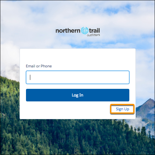 Login page with Sign Up link screenshot